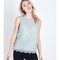 petite-green-floral-lace-sleeveless-top-new-look
