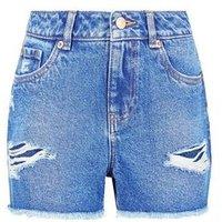 Teens Bright Blue Ripped Denim Shorts New Look