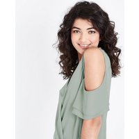 Mint Green Wrap Front Cold Shoulder Top New Look