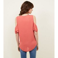 Coral Wrap Front Cold Shoulder Top New Look