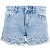 Teens Pale Blue Aztec Embroidered Denim Shorts New Look