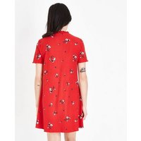 Red Floral Soft Touch Swing Dress New Look