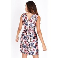Mela Pink Floral Print Prom Dress New Look