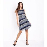 Mela Blue Glitter Lace Sleeveless Dress New Look
