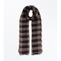 Black Check Fray Edge Scarf New Look