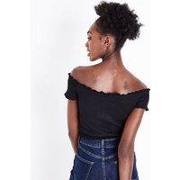 Black Shirred Bardot Neck Crop Top New Look