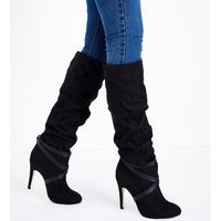 Black Suedette Strappy Knee High Boots New Look