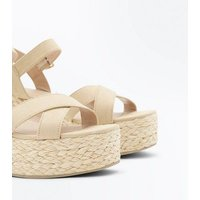 Light Brown Suedette Flatform Espadrille Sandals New Look