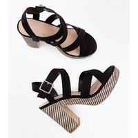Black Suedette Strappy Woven Sole Block Heels New Look