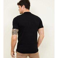 Black Block Stripe Polo Shirt New Look