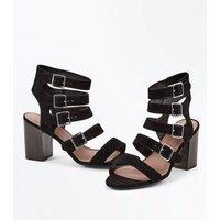 Wide Fit Black Suedette Multi Strap Heels New Look