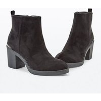 Black Suedette Metal Trim Chunky Heeled Boots New Look