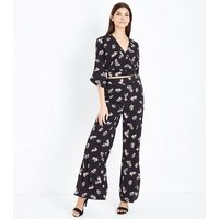 Black Floral Spot Print Wrap Front Top New Look