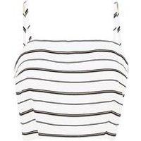 White Stripe Crop Top New Look
