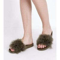 Khaki Feather Strap Sandals New Look