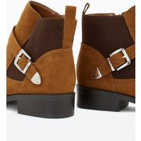Wide Fit Tan Suedette Buckle Chelsea Boots New Look