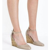 Nude Patent Cut Out Two Part Wedges New Look