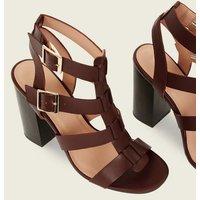 Rust Wooden Block Heel Gladiator Sandals New Look