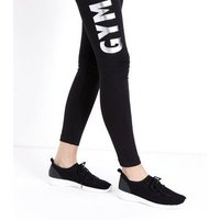 Black Knit Trainers New Look