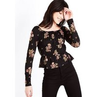 Black Floral Gathered Square Neck Top New Look