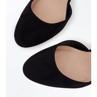 Black Suedette Cut Out Two Part Wedges New Look