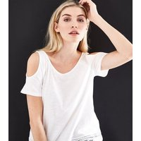 White Crochet Hem Cold Shoulder T-Shirt New Look