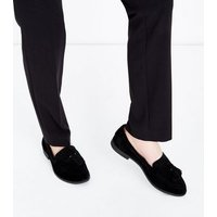 Girls Black Suede Tassel Trim Loafers New Look