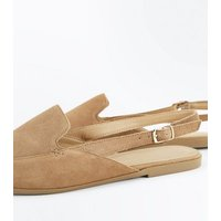 Tan Suede Slingback Loafers New Look