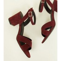 Girls Dark Red Suedette Cross Front Block Heels New Look