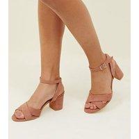 Girls Pink Suedette Cross Front Block Heels New Look