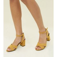 Girls Mustard Suedette Cross Front Block Heels New Look