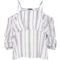 White Stripe Tiered  Sleeve Bardot Top New Look