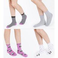 4 Pack Purple Panda Ankle Socks New Look