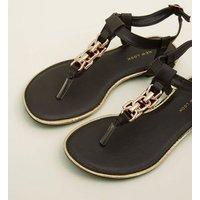 Black Chain Strap Flat Sandals New Look