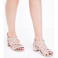 Wide Fit Gold Strappy Low Block Heel Sandals New Look