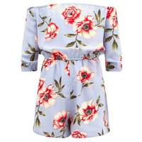 Teens Blue Floral Bardot Neck Playsuit New Look
