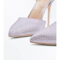 Silver Faux Snakeskin Two Part Pointed Heels New Look