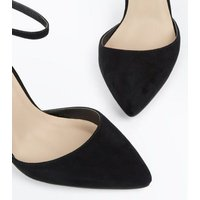 Black Suedette Ribbon Trim Pointed Heels New Look