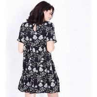 Maternity Black Floral Tiered Smock Dress New Look