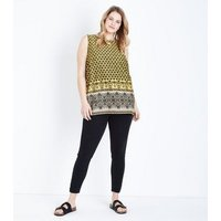 Curves Yellow Tile Print Sleeveless Top New Look