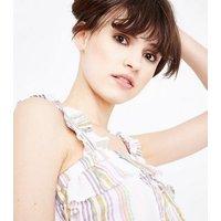 Pink Stripe Frill Trim Cami New Look