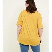 Curves Yellow Tassel Trim Boxy T-Shirt New Look
