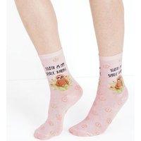 Pink Sloth Slogan Glitter Peace Sign Socks New Look