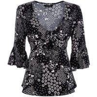 Black Floral Bell Sleeve Tie Front Top New Look