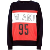 Navy Miami Print Colour Block Sweatshirt New Look