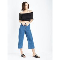 Black Broderie Jersey Bardot Neck Crop Top New Look
