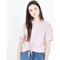 Teens Pale Pink Tie Front T-Shirt New Look