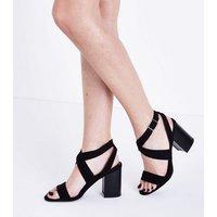 Black Suedette Cross Strap Heeled Sandals New Look
