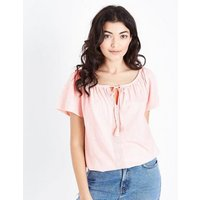Pink Tassel Tie Lace Trim T-Shirt New Look