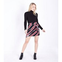 Petite Navy Stripe Wrap Tie Mini Skirt New Look